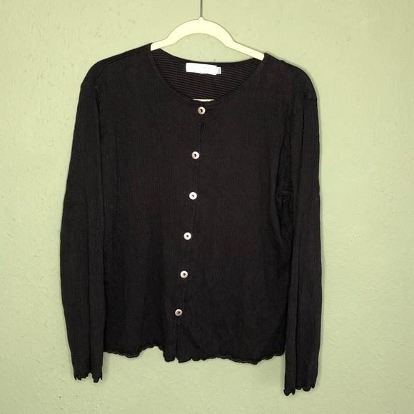 fresh produce Sweaters - Fresh Produce Black Crinkle Style Cardigan Large